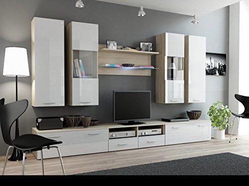 Wohnwand DREAM II, Anbauwand, Wohnzimmer Möbel, mit LED Beleuchtung