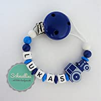 💙 Schnullerkette mit Namen Traktor Gravur Geschenk Taufe Geburt Silikonring individuell | Junge blau Namenskette
