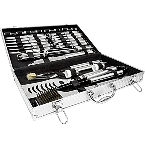 Charles Bentley 32Pc Stainless Steel Bbq Utensil Set Barbecue Tool Kit Cutlery In Case