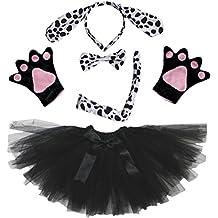 Petitebelle dálmatas perro Lady Costume Diadema pajarita cola guantes negro tutú