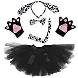 Petitebelle Dalmatians Dog Lady Costume Headband Bowtie Tail Gloves Black Tutu (One Size)