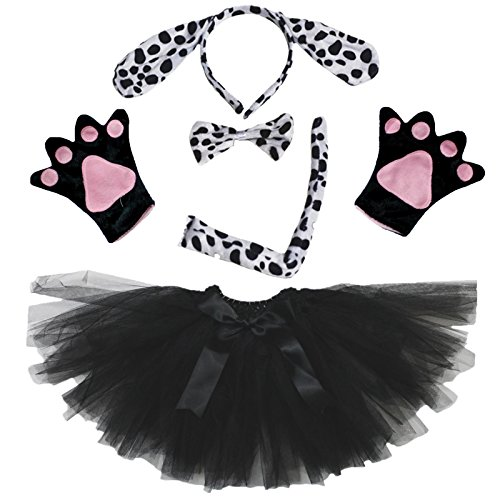 Petitebelle Dalmatians Dog Lady Costume Headband Bowtie Tail Gloves Black Tutu (One ()