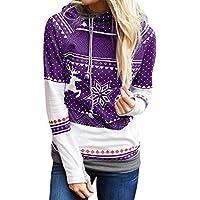 LILICAT☃ Ola navideña Elk Copo de Nieve con Capucha suéter de Manga Larga Top Mujer Dots Elk Copo de Nieve Tops Tops Sudadera Blusa Jersey (Azul Marino/Negro / Rojo/púrpura / Azul Cielo)