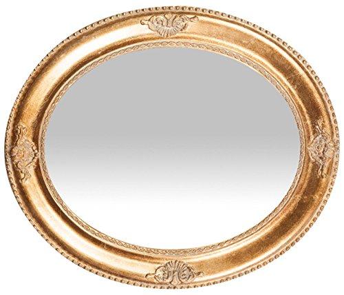 Specchio specchiera da parete con cornice ovale in legno 54x3x64 cm finitura oro anticato da - Specchio cornice oro ...