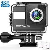 DBPOWER Action Cam 4K Ultra HD 20MP WiFi Kamera Touch Screen Sports Camera 30 Meters Unterwasserkamera mit 170° Ultra-Weitwinkel EIS Stabilisierung Dual Batterien