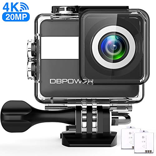 DBPOWER Action Cam 4K Ultra HD 20MP WiFi Kamera Touch Screen Sports Camera 30 Meters Unterwasserkamera mit 170° Ultra-Weitwinkel EIS Stabilisierung Dual Batterien