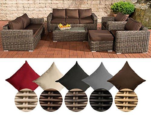 CLP Polyrattan-Lounge MADEIRA XL inklusive Polsterauflagen   Gartenmöbel-Set bestehend aus einem 3er-Sofa, einem 2er-Sofa, zwei Sesseln einem Loungetisch und einem Hocker   In verschiedenen Farben erhältlich Bezugfarbe: Terrabraun, Rattan Farbe grau-meliert