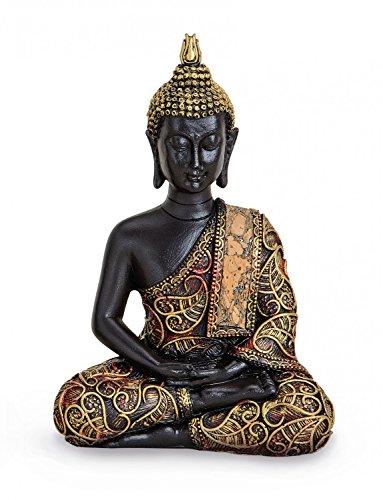 Tempelwelt Buddha Figure Amithaba Statue Sitting 15 Height cm, Polyresin Black Gold, Buddha dhyani Decorative Figure Thai Buddha Statue Buddha Figure
