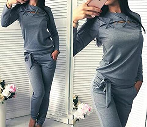 Europe and the United States Women 's Autumn Long-sleeved Sweater Two Sets of Casual Sportswear Suit (tops + Trousers),Gray,XL