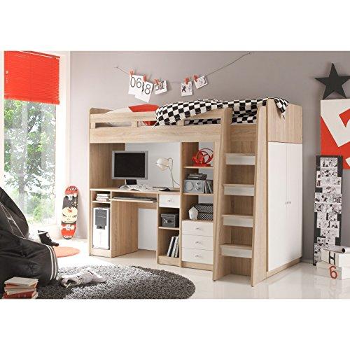 MACOShopde by MACO Möbel Hochbett Unit mit integriertem Schreibtisch, Regal und Kleiderschrank in Eiche Sonoma/weiß 204x160x112 cm (Mädchen-haus-etagenbett)
