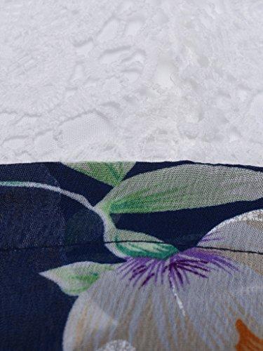 Blooming Jelly Damen Halter-Ansatz mit tiefem V Asymmetrisches Blumenkleid mit Spitze Gr.-S=UK8=EU36,Weiß