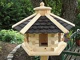 Vogelhaus -rund Schwarz mittel(V039)- Vogelhäuser Vogelfutterhaus Vogelhäuschen-aus Holz...