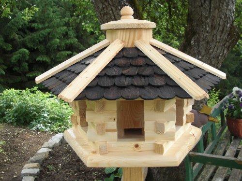 Vogelhaus -rund Schwarz mittel(V039)- Vogelhäuser Vogelfutterhaus Vogelhäuschen-aus Holz Schreinerarbeit-