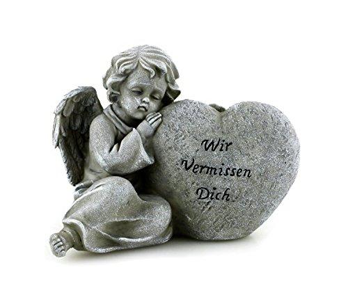 Grab Deko Engel Figur sitzend an Stein Herz aus Polystein steingrau 16 x 13 x 12 cm groß, schöne Grabdeko mit Spruch Statue kleiner Schutzengel (Grabstein Engel)