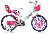 """giordanoshop Bicicletta per Bambina 16"""" 2 Freni Miracle Tunes Bianca e Viola"""