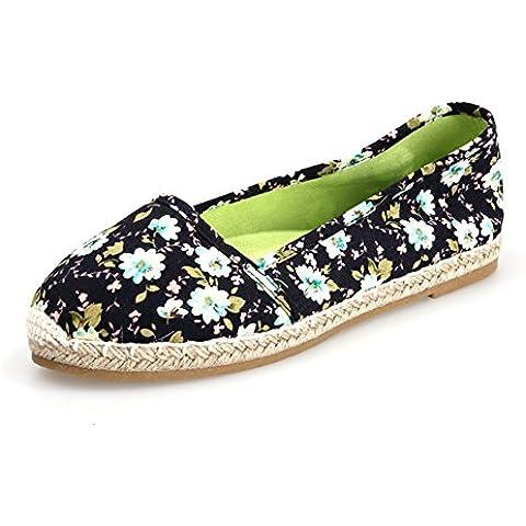 YUE Scarpe stampa primavera/Canapa tessuto scarpe piatte/Scarpe di tela