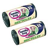 Handy bag - Bolsas de basura con el desplazamiento de asas reciclado 50 l 68 x 73 cm / 10 x paquete de 2