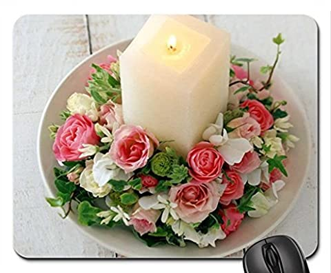 FLOWER RING BOUQUET WITH CANDLE Mouse Pad, Mousepad (Flowers Mouse Pad)