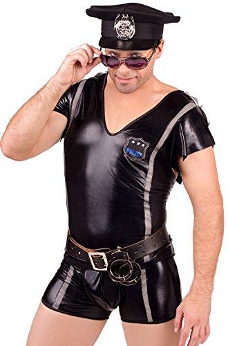 Sexy Polizist wet look 2 Stück Kostüm von Andalea. (L/XL)