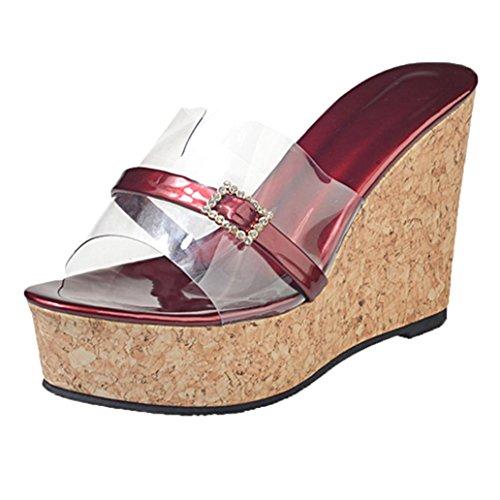 Fuibo Elegant Sandalette Frauen Sommer Transparente Pantoffel Höhe die Keil Plattform Sandelholz Schuhe erhöht Flip Flop Sandalen Fisch Mund Schuhe (37, Wine)