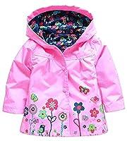 X&F Little Girls Cute Floral Hooded Raincoat Outdoor Waterproof Jacket Rainwear 4-5 Years, Pink