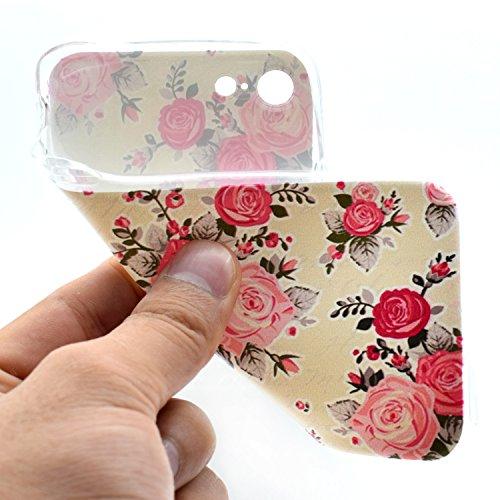 Coque iPhone 7 Plus,Étui iPhone 7 Plus,iPhone 7 Plus Case,ikasus® Coque iPhone 7 Plus Silicone Étui Housse Téléphone Couverture Transparent TPU avec Coloré peinte Motif Mandala de fleurs Ultra Mince P Rose Fleur