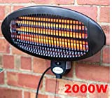 LIVIVO ® Electric Wall Mounted 2kW Patio Heater with 3 Power Settings – Powerful Quartz Tube Heating Element with Integrated Safety Over-heat Protection – Suitable for Indoor and Outdoor Use – IPX4 Rated & ROHS Approved - 45 Degree Adjustable Heat Angle – Wall Bracket Included