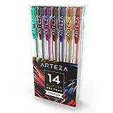 ARTEZA Glitter Gelstifte — Gelroller in 14 Verschiedenen Farben — Hochwertige Gelschreiber mit 0.8-1.0 mm Stiftspitze