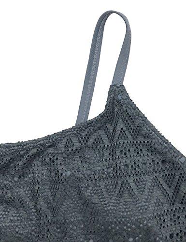 FLYILY Damen Badeanzug Zweiteilig Schwimmanzug Elegantes Push Up Sportlich Tankini Swimsuit (FBA) Grey