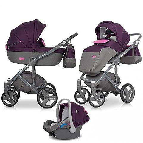 VARIO Kombikinderwagen 3in1 Babywanne Buggy Autositz Babyschale 0-13 kg mit Schwenkrädern – klappbar Farbe:Purple