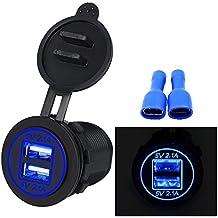 TurnRaise 4.2A Toma USB Cargador para Coche Barco Motocicleta 12-24 Voltios IP66, Color Negro (Led Azul)