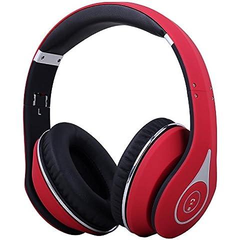 August EP640 - Auriculares Bluetooth Inalámbricos NFC con micrófono integrado, Batería Interna y Almohadillas de Cuero - Conexión 3.5mm y Micro USB - Compatibles con Teléfonos Móviles, Smartphones, iPhones, iPads, Tabletas y Ordenadores -