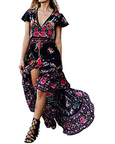 Galleria fotografica StyleDome Donna Vestito Lungo Spiaggia Abito Maxi Floreale  Mezza Manica Corta Casual Elegante Floreale 1a20f41377d