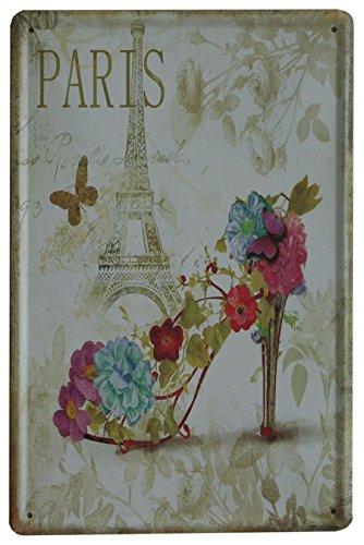 SuperStudio Lo + deModa hcn750 - 87 - Tableau en métal imprimé Vintage Paris Shoe 20 x 30 cm, Multicolore