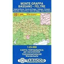 Monte Grappa, Bassano, Feltre: Wanderkarte Tabacco 051. 1:25000
