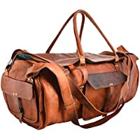 Last DAY - SALE Clearance 2019! Shakun Leather Handmade Large Leather Duffle Travel Gym Vintage Luggage Weekend Bag, 100% Pure Leather with Free Shipping