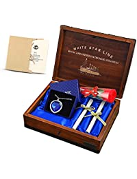 buythem Titanic Heart of The Ocean Crystal Pendant with Pure Silver Necklace in A Classical Hand-Made Wood Box, Best for Beloved Sweatheart