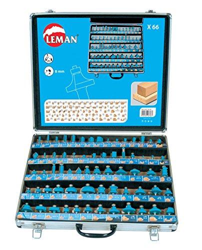 Leman 428.700.66Koffer mit 66Fräsern für Oberfräsen aus Karbid, Schaftdurchmesser: 8mm