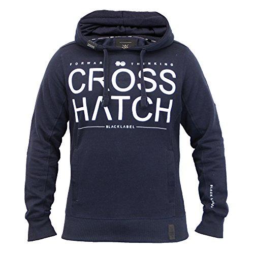 Herren Sweatshirt Crosshatch Top Mit Kapuze Sweat Pullover Fitnessclub Freizeit Fleecefutter Neu marineblau - Sevcon