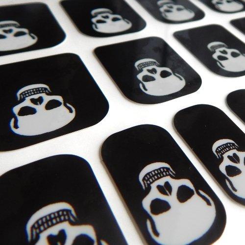 Hennen Nägel gelegentlichen Minx schicken Stil Gothic Halloween Finger Zehen Vinyl Folien Nail Wraps, White Skull Print