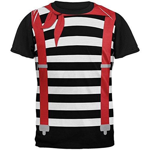 Halloween Französisch Mime-Kostüm auf der Ganzen Mens Black Back T Shirt Multi X-LG