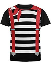 Halloween French Mime Costume All Over Mens Black Back T Shirt