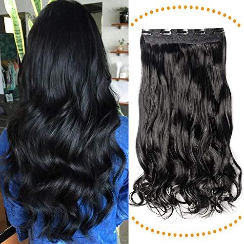 1 Tresse Clip in Extensions Haarteil Günstig Haarverlängerung Weich Natürlich Synthetische Haare wie Echthaar Gewellt 24