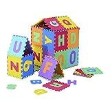 Homcom 26 Stück Puzzlematte Alphabet Matte Kinder Spielmatte Kinderteppich 60-Teiliges Set