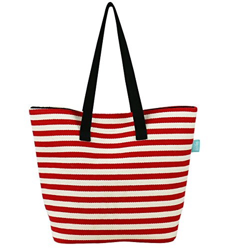 Segeltuch-Schulter-Tote-Handtasche für Lager / Strand / Picknick, Reise-Handtaschen für Wochenende-Käufer, Strand-Einkaufstasche, 4 Farben-Streifen Rot