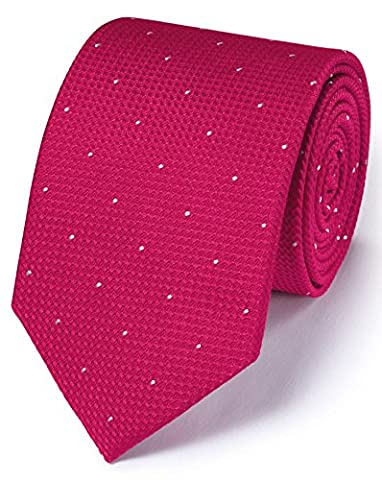 Dark Pink Silk Classic Textured Dash Tie by Charles