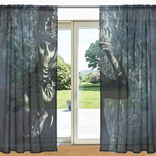Tag der Toten Halloween gedruckt Sheer Fenster und Tür Vorhang 2 Panels 55