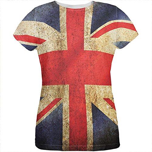 T Britische Shirt Flagge (Britische Flagge Union Jack Grunge notleidenden auf der ganzen Damen T Shirt Multi X-LG)