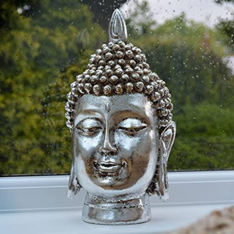 Grande Buddha testa ornamento statua Figura Argento Antico e oro Thai nuovo - Laughing Buddha