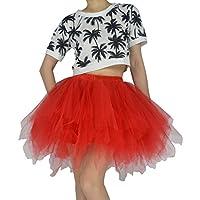 YSJERA Women's Tutu Tulle Mini A-Line Petticoat Prom Party Cosplay Skirt Fun Skirts (M, Red)